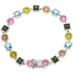 Genuine Rhodium Plated Spring Bracelet with 7 in Length and Olive and Peridot Green and Pink Ice Color and Aqua Blue Cubic Zirconia Polished into a Lustrous Silvertone Finish Peridot Jewelry, Tourmaline Jewelry, Fashion Bracelets, Fashion Jewelry, Women's Bracelets, Silver Bracelets, Bracelet Sizes, Sterling Silver Jewelry