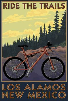 Los Alamos, New Mexico - Mountain Bike Scene - Lantern Press Artwork