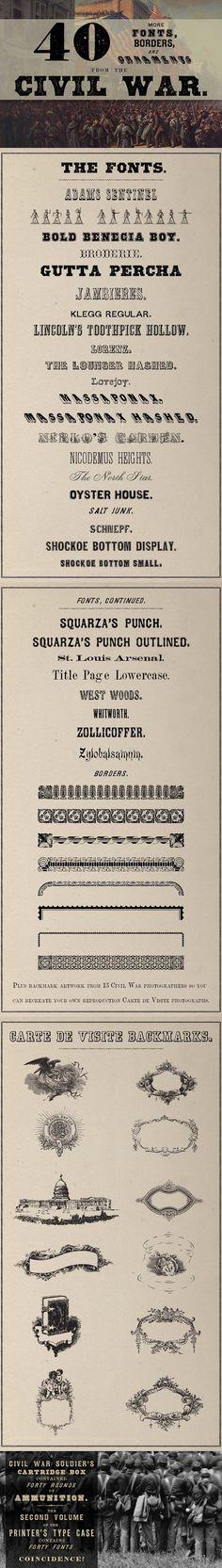 40 Fonts from the Civil War Era. Fonts. $40.00