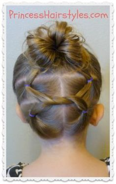 Pretty, toddler-friendly up-do from Princess Hairstyles. I did this on Lily for a wedding with great success and received several compliments on it. I did an extra knot and added a couple mini braids (mostly to keep the short hairs in check), but this is a great video tutorial.  I'll be pulling this hairstyle out again for #New Hair Styles for Girls