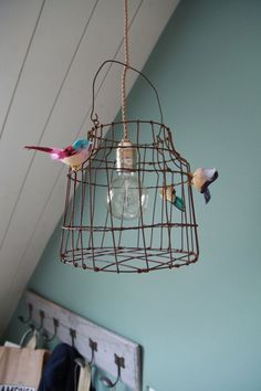 Ideas Bird Cage Light Fixture Inspiration For 2019 Cage Light Fixture, Cage Pendant Light, Kitchen Pendant Lighting, Light Fixtures, Hanging Bird Cage, Deco Luminaire, Home And Deco, Lampshades, Lamp Light