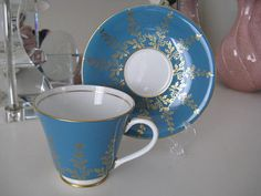 Dark Turquoise Vintage Teacup and Saucer by Aynsley