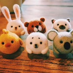 Design: Needle felted Animal Cute Woodland Animals In Stock: 2-4 days for processing Include: Only The Needle Felting Kit Project Animals: Bear, Chicken, Bunny, Cat, Koala, Seal Material: Felt Wool (100% merino short wool), Plastic Eyes, Love Size: 3.5cm(H) x 3.5cm(L) x 3.5cm(W) No included the ears Decorate: Desk, Shelf, Keychain, Charm, PhoneCharm Style: Cute Needle Felting Animals Care & Clean: If the item become too fuzzy, just trim any strays instead of pulling out Return & Exchange…