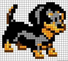Dog perler bead pattern (or crochet squares) Pearler Bead Patterns, Perler Patterns, Loom Patterns, Beading Patterns, Beaded Cross Stitch, Cross Stitch Embroidery, Cross Stitch Patterns, Pixel Pattern, Pattern Art