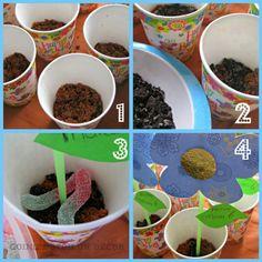 """simpele en heerlijke traktatie. Kinderen vinden het geweldig om """"modder""""te eten :-)  stappenplan kun je vinden door op de link te klikken"""