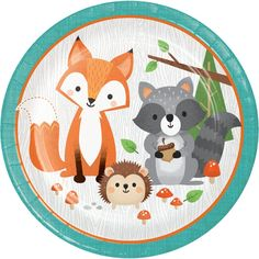 Throw a fun-filled Woodland party with these adorable plates! Your Woodland birthday, baby shower and party guests will love them! This adorable design includes a fox, raccoon, and hedgehog smiling back at you! Woodland Party, Woodland Theme, Fox Party, Animal Party, Forest Animals, Woodland Animals, Woodland Critters, Baby Shower Plates, Animal Plates