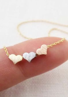 Tiny 3 hearts necklaces, gold, silver, and rose gold hearts