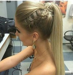 Straight ponytail with braid Nail Design, Nail Art, Nail Salon, Irvine, Newport Beach Prom Hair Updo, Homecoming Hairstyles, Straight Hairstyles For Prom, Straight Prom Hair, Braid Hair, Girl Hairstyles, Braided Hairstyles, Wedding Hairstyles, Prom Ponytail Hairstyles