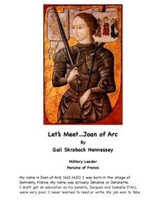 Joan of Arc: Military Leader/ Heroine of France Primary History, Teaching History, Women's History, Teaching Resources, Battle Of Salamis, First Female Doctor, Phillis Wheatley, Teacher Page, Map Activities