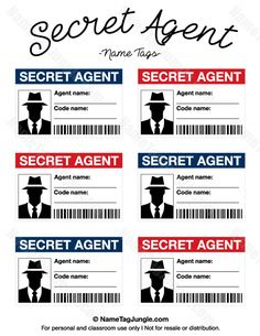 Free printable secret agent name tags. These would. - Free printable secret agent name tags. These would. Geheimagenten Party, Spy Kids Party, Spy Birthday Parties, Clue Party, Ideas Party, Birthday Ideas, Escape Room, Secret Agent Party, Secret Agent Games