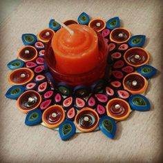 Candle with decorative candle stand made from #quilling strips