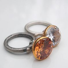 Jan Suchodolski / silver rings with synthetic stones