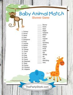 Hey, I found this really awesome Etsy listing at https://www.etsy.com/listing/84927144/safari-baby-shower-game-baby-animal