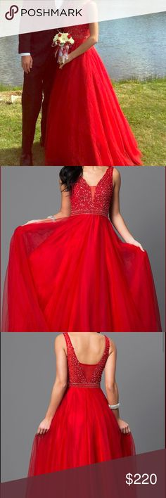 prom/formal dress 🌹Beautiful beaded red prom dress for sale! Worn once and in perfect condition. The bodice was professionally altered to be more fitted.  The price is negotiable! Is size 0 but fits more like a 1-2. *listed as Sherri hill for more traffic. The brand is Dave & Johnny Sherri Hill Dresses Prom