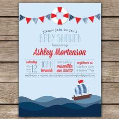 Nautical Shower II - Custom Digital Baby Shower Invitation Printable