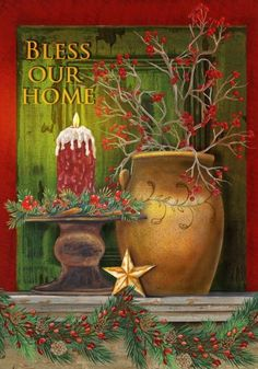 Christmas Mantle - Bless Our Home - Large Size 28 Inch X 40 Inch Decorative Flag by Custom Decor. $10.00