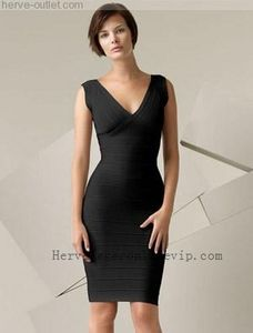 9fe63b7a7dbf Herve Leger V Neck Dress Bandage Classic Black Low Price [38bd] Dresses  2013,