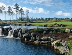 A waterfall designed by Tim Cate on the Leopard's Chase Golf Course