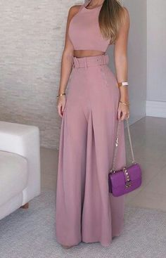 Solid Crop Top & Self-Belt Wide Leg Pant Sets. Women 2019 Fashion Elegant Formal Office Sleeveless Casual Suit Sets Ladies Solid Crop Top & Self-belt Wide Leg Pant Sets Overview: Gender: Women Material: Polyester Sleeve Length(cm): Sleeveless S Trend Fashion, Look Fashion, Womens Fashion, Fashion Tips, Ladies Fashion, Fashion Ideas, Feminine Fashion, Fashion 2018, Elegance Fashion