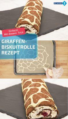 Die Giraffenrolle klappt mit diesem Trick auch bei Back-Anfängern, und dabei ist die gescheckte Biskuitrolle ganz fluffig und lecker. Bei der Füllung vom Giraffenkuchen sind Kirschen, Sahne oder bunte Eigenkreationen möglich. #backen #biskuit #biskuitrolle #giraffenkuchen