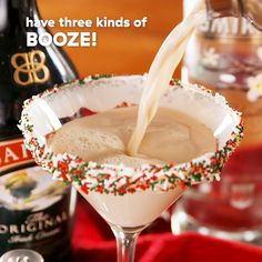 Cookie Martinis Sipping a martini while decorating Sugar Cookies sounds like the ideal kind of Christmas party.Sipping a martini while decorating Sugar Cookies sounds like the ideal kind of Christmas party. Fancy Drinks, Yummy Drinks, Yummy Food, Drinks Alcohol Recipes, Cocktail Recipes, Martini Recipes, Holiday Drinks, Holiday Recipes, Easy Christmas Cocktails