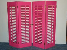 Vintage Wooden Adjustable Louver Window Shutters- Very Berry Pink Color…