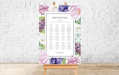 PRINTED Seating Plan | JOSEPHINE COLLECTION  Horizontal Wedding Table Plan |  Seating Chart | Foamex Sign. A0, A1, A2, A3 Wedding Signs, Wedding Table, Welcome To Our Wedding, Signage Design, Seating Charts, Table Plans, A3, Floral Wedding, Pink Flowers