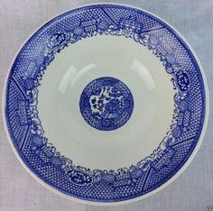 "1 Vintage Willow Ware Serving  Bowl Blue&White 8 1/2"" diameter unmarked #USA"