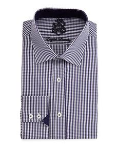 Check Spread-Collar Dress Shirt, Navy