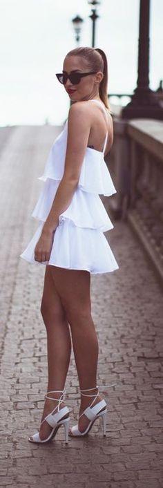 White cascading ruffle dress and heels |Kenzas
