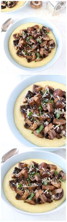 Creamy Polenta with Roasted Mushrooms Recipe on twopeasandtheirpod.com Love this simple and comforting meal!