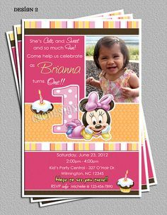 Baby Minnie Mouse 1st Birthday Party Invitations by cgcdesignz