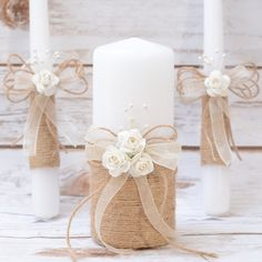 Unity Candle Set Rustic Unity Candle Set Unity por HappyWeddingArt