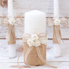 Imposta candela candela rustico Set Set unità di HappyWeddingArt
