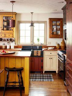 Farmhouse Kitchen Cabinets, Primitive Kitchen, Farmhouse Kitchens, Rustic  Kitchen, Primitive Decor, Wood Floors In Kitchen, Soapstone Kitchen, ...