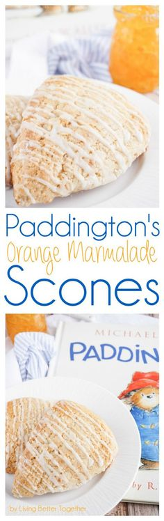 Orange Marmalade Scones, inspired by Paddington, the classic children's book, lightly sweet & simply delicious! Plus they're ready in just 30 minutes! Brunch Recipes, Breakfast Recipes, Dessert Recipes, Scone Recipes, Scones, Pudding, Cupcakes, Sweet Bread, High Tea