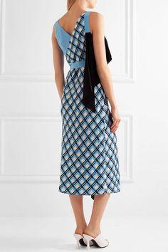 Diane von Furstenberg - Draped Printed Silk-blend Wrap Dress - Blue - US6