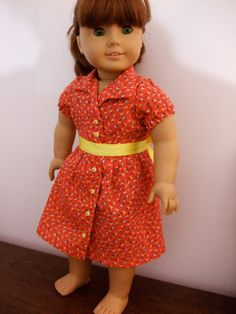 Classic Red Shirtdress for 18 inch dolls / American Girl doll clothes. $18.00, via Etsy.