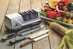 Chef'sChoice 15 Trizor XV EdgeSelect Professional Electric Knife Sharpener for Straight and Serrated Knives Diamond Abrasives Patented Sharpening System Made in USA, Gray Chefs Choice Knife Sharpener, Best Pocket Knife Sharpener, Best Electric Knife Sharpener, Chef's Choice, Specialty Knives, Specialty Appliances, Cooking Appliances, Steak Knives, Kitchen Tools And Gadgets