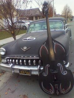 Don't know what I'm more excited about- the car or the bass! rockabilly style✿✿
