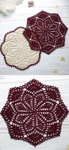 Those dories look just beautiful - the dark and white color really embellishes this amazing, detailed lace. They will be a great coasters or just a decoration on your coffee table. Free Crochet Doily Patterns, Crochet Doily Diagram, Filet Crochet, Crochet Motif, Crochet Designs, Crochet Coaster, Free Pattern, Doilies Crafts, Lace Doilies