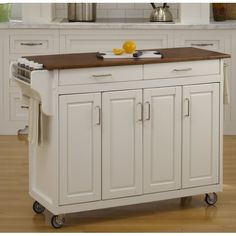Home Styles Mobile Create-a-Cart White Finish Four Door Cabinet Kitchen Cart with Black Granite Top, Adjustable Shelving Kitchen Island With Granite Top, Kitchen Island Cart, Granite Tops, Kitchen Carts, Black Granite, Kitchen Islands, Island Table, Granite Kitchen, Prep Kitchen