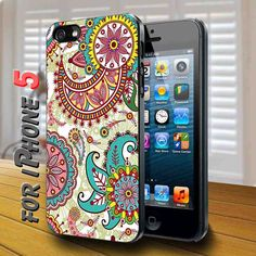Colorfull Paisley Pattern Black Case for iphone 5