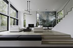 Spacious living room with high ceilings