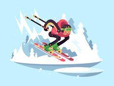 Skiing by Anton Fritsler (kit8) #Design Popular #Dribbble #shots