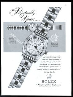 1947 Rolex Oyster Chronometer Auto Rotor Watch Big Illustration Vintage Print Ad. #rolex #oyster #chronometer #watch #watches #vintage #ads #stawc