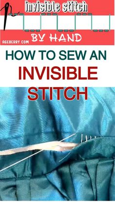 Learn how to sew an invisible stitch by hand so you can repair a tear in your favorite pillow or sew nearly invisible hems for pants, skirts and dresses. Invisible stitch (slip stitch, or ladder stitc Easy Sewing Projects, Sewing Projects For Beginners, Sewing Hacks, Sewing Crafts, Sewing Art, Sewing Tips, Sewing Stitches By Hand, Hand Embroidery Stitches, Hand Sewing