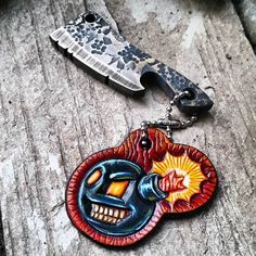 @wastelandoddities makes some very cool EDC gear. These two lovelies are long gone but follow his page to keep up on the lastest:  Ka-Boooom! Custom 1 of a kind Chaos Brass Beverage Cleaver with a Hand Tooled 'KA-BOOOM' leather dog tag  #WastelandOddities