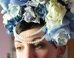 Over Sized Couture Blue Rose Floral Headband Head Dress, Sweet Lolita, Classic Lolita