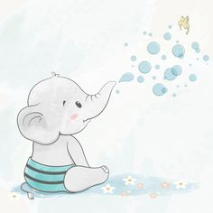 Cute baby elephant with air bubbles water color cartoon hand drawn # Baby Elephant Drawing, Baby Animal Drawings, Cute Baby Elephant, Cartoon Elephant, Elephant Baby Showers, Elephant Art, Cute Drawings, Baby Drawing, Baby Elephants